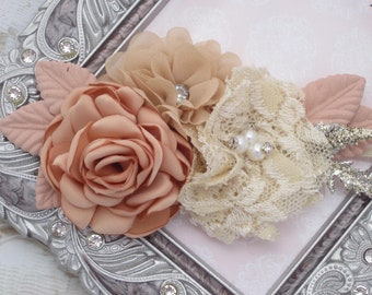 Couture Flower Headband, baby photos, newborn photoshoot, photographer headband, ivory and blush flowers, by Lil Miss Sweet Pea