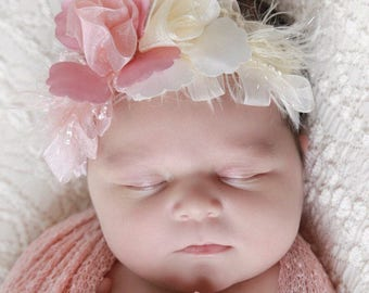 Blush knit swaddle wrap AND / OR matching ribbon flower stretch lace headband for newborn photo shoots, Lil Miss Sweet Pea