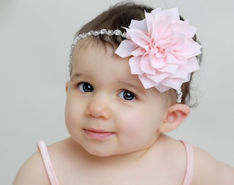 Rhinestone Headband with a Peachy Pink Blush Chiffon Flower for all ages, weddings, newborn photos, bebe bandeau, by Lil Miss Sweet Pea