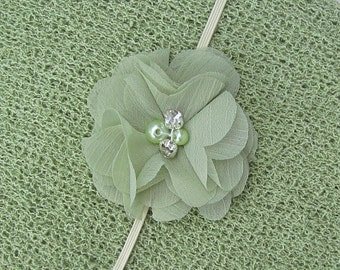 Pretty 2 inch sage petal flower on skinny ivory elastic, just perfect for a newborn, photo shoots or everyday, Lil Miss Sweet Pea