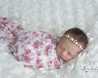 Floral Stretch Lace Swaddle Wrap AND/OR Matching Gold Rhinestone & Roses Headband for newborn photos, by Lil Miss Sweet Pea