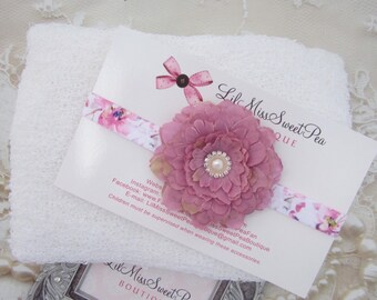 White Stretch Knit Wrap AND/OR Floral Elastic Headband photo shoot swaddle, bebe foto, Lil Miss Sweet Pea