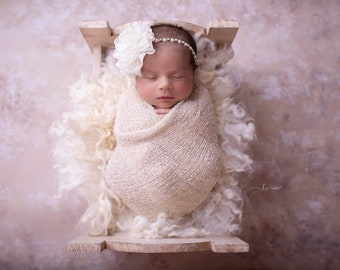 """Ivory knit swaddle wrap AND/OR 4"""" flower on a rhinestone & pearl headband, bebe foto, Lil Miss Sweet Pea"""