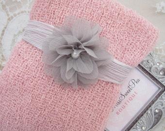 Pastel Pink Knit Swaddle Wrap AND/OR Crinkled Silk Organic Grey Flower Tieback for girls, newborns, bebe fotografia, Lil Miss Sweet Pea