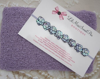 Iris / Lavender Knit Stretch Wrap AND / OR Oyster Pearl Sequin Flower Headband set, photoshoot, bebe, newborn, swaddle, Lil Miss Sweet Pea