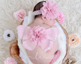 Pink Glitter Baby Wings, headband or wings only or a set - for newborn photos, photo prop, newborn photographers by Lil Miss Sweet Pea