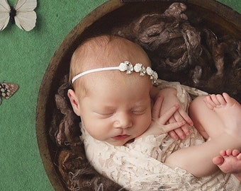Nude stretch lace swaddle wrap and/or rhinestone rose headband, bandeau bebe, swaddle set by Lil Miss Sweet Pea