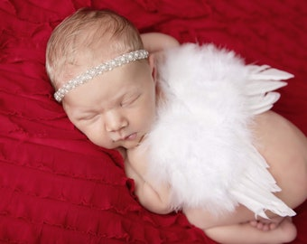 White Feather Angel Wings AND/OR Beaded Pearl Headband for newborn photos, bebe foto, prop, photographers, Lil Miss Sweet Pea