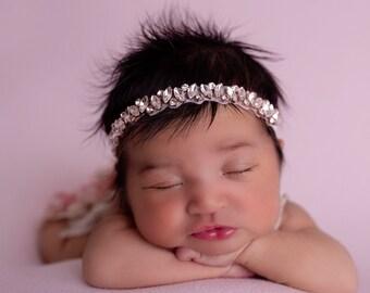 Rose gold rhinestone headband, photoshoot, bebe, baby bling, bandeau bebe, wedding, bridesmaid, Lil Miss Sweet Pea