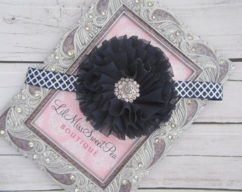 Navy Ruffle Flower on Silver and Navy Quatrefoil Headband, perfect for all ages, birthday, wedding, newborn, photo shoot, photographer