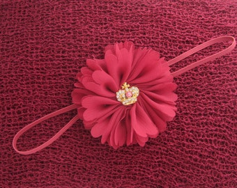 Cranberry  Merlot Knit Swaddle Wrap  AND/OR Matching Flower Headband, photo shoots, flower is 2.5 inches, bandeau, by Lil Miss Sweet Pea