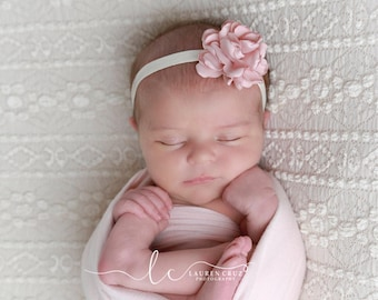 Pretty Blush 2.25 inch satin flower on 3/8 inch elastic, perfect for a newborn, photo shoots or everyday, bebe foto, Lil Miss Sweet Pea