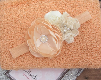Peach Stretchy Knit Wrap AND/OR Matching Cluster Flower Headband, photo shoots, newborn swaddle wrap, bebe foto, Lil Miss Sweet Pea
