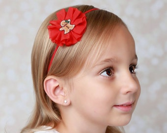 Christmas Gingerbread Man Flower 3 inch Elastic Headband, perfect for all ages or on an alligator clip