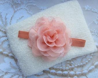 Cream Knit Wrap AND/OR Matching Peach Chiffon and Lace Flower Headband, photo shoots, newborn swaddle wrap, bebe foto, Lil Miss Sweet Pea