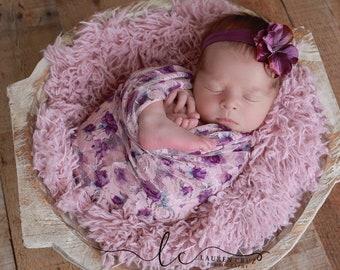 Photographer Printed Lace Swaddle Wrap AND / OR purple flower headband, newborn photo, Lil Miss Sweet Pea