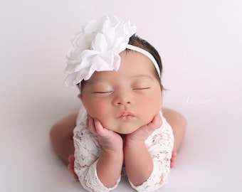 "White Lace Romper, unlined w/sleeves, AND/OR 4"" chiffon petal flower headband, newborn bebe foto, Lil Miss Sweet Pea"