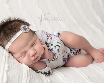 Newborn Romper, Printed Stretch Jersey, AND/OR matching rhinestone headband, photoshoot, bebe, newborn photo outfit, Lil Miss Sweet Pea