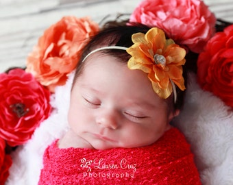 Orange Delphinium Flower headband for newborn photo shoots or everyday wear, perfect for all ages, baby shower gift