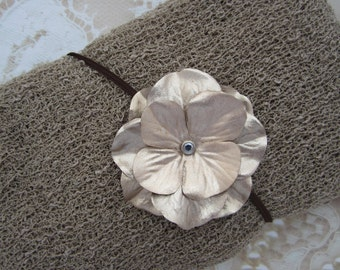 Putty Stretch knit wrap AND / OR Matching Gold Hydrangea Flower Headband set for newborn photo shoots, bebe, foto, Lil Miss Sweet Pea