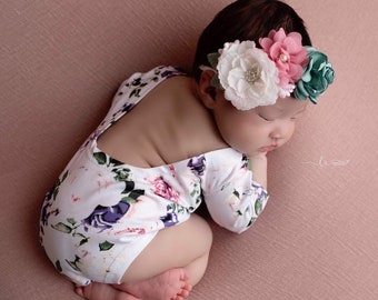 Newborn Romper, Printed Stretch Jersey, AND/OR matching flower headband, photoshoot, bebe, newborn photography outfit, Lil Miss Sweet Pea