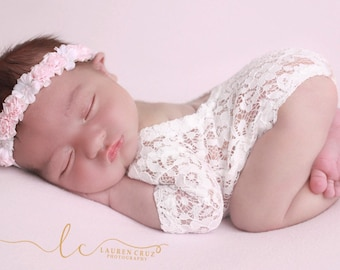 Newborn Lace Romper AND/OR Pink Halo Headband, photoshoot, bebe foto, by Lil Miss Sweet Pea