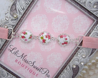 Roses and Rhinestones, baby headband, baby photo prop, newborn headband, bebe, foto, rhinestone connector, by Lil Miss Sweet Pea
