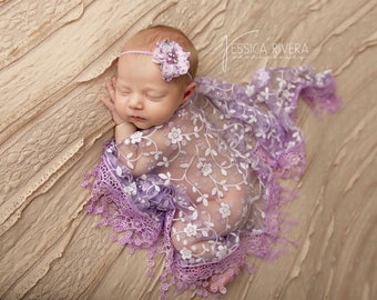 Lavender Fringe Swaddle Wrap with Matching Flower Headband for newborn photo shoots, by Lil Miss Sweet Pea