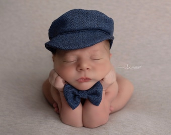 Baby Boy Tweed Newsboy Hat and Bow tie for newborn photo shoots, bebe foto, boy cap, golf cap, photographer, by Lil Miss Sweet Pea