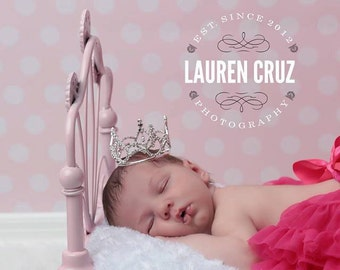 Rhinestone Baby Crown with Pink or Clear Rhinestones, newborn or maternity photos, cake topper, bebe, infant, by Lil Miss Sweet Pea