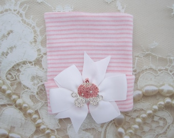 Pink princess carriage, baby hospital hat, pink stripe hat with bow, newborn take home outfit by Lil Miss Sweet Pea