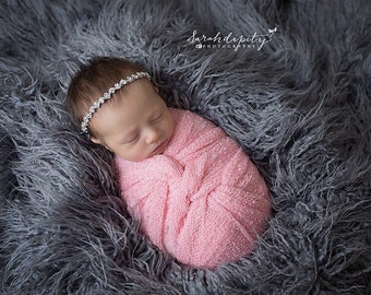 Photo Prop Set, Silver Rhinestone Bling Headband AND/OR Pastel Pink Knit Swaddle Wrap, baby girls, by Lil Miss Sweet Pea