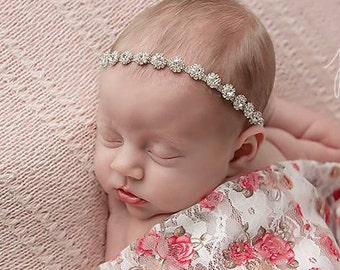 White, Red and Tan Printed Floral Stretch Lace Swaddle Wrap AND/OR Silver Rhinestone Headband, newborn photo shoots, Lil Miss Sweet Pea