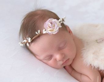 """Covered Wite Twig Halo with 4CM (1.5"""") Lavender & Ivory Mulberry Rose, newborn, bebe fotografia, Lol Miss Sweet Pea"""