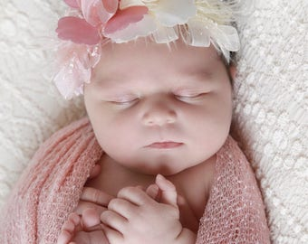 Ribbon flower lace headband for newborn photo shoots, stretch lace, baby shower gift, new baby girl, vintage