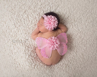 Bubblegum Pink Baby Butterfly Wing Set for newborn prop, newborn photographers, new baby, baby girl, baby wings by Lil Miss Sweet Pea
