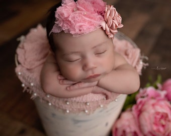 Muslin swaddle with pearls AND/OR flower headband, newborn photography, princess, Lil Miss Sweet Pea