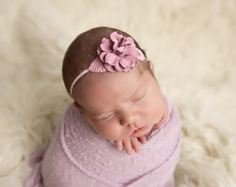 Mauve Flower headband with skinny elastic for newborns, photographer prop, prop shop, newborn baby, bebe fotografia, Lil Miss Sweet Pea