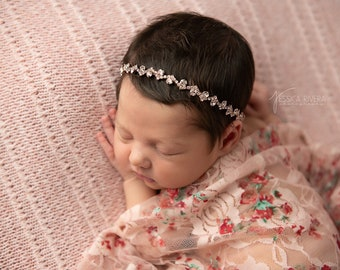 Shades of pink stretch lace swaddle AND/OR rose gold rhinestone headband, bandeau, bridesmaid, flower girl, bandeau baby, Lil Miss Sweet Pea