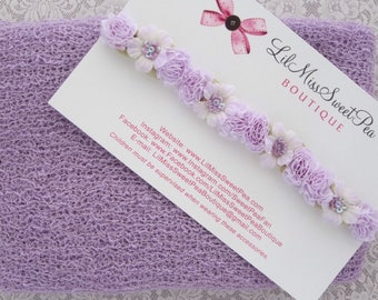 Lilac Stretch Knit Wrap AND/OR Ribbon Flower Halo Headband for newborn photos, foto bebe bandeau, by Lil Miss Sweet Pea