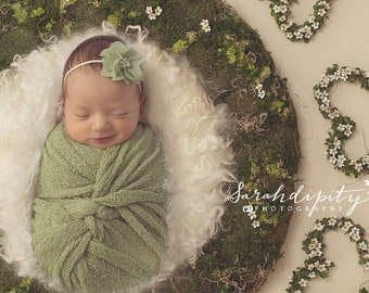 "Sage Green Knit Wrap AND/OR Matching 2"" Chiffon Flower Headband, photo shoots, newborn swaddle, bebe foto, Lil Miss Sweet Pea"