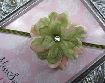 Shades of Green and Blush Pink headband for newborn photo shoots or everyday wear, includes layers of sheer organza