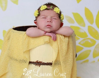 Yellow Knit Stretch Wrap AND/OR Braided leather halo with yellow satin cabbage roses. Pretty for photo shoots, newborn by Lil Miss Sweet Pea