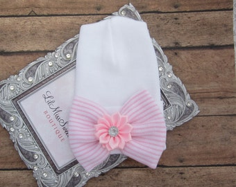NEW fitted top newborn hospital hat, pink stripe bow with pink flower, latex free, take home outfit, baby beenie, by Lil Miss Sweet Pea