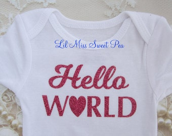 Newborn Bodysuit for Hospital Photos, Buy ONE for your favorite newborn, Hello World in Pink Glitter on White Outfit, by Lil Miss Sweet Pea
