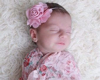 Shades of Pink stretch swaddle AND/OR Chiffon Flower Headband, bandeau bebe, bebe foto, newborn photographer, gift, by Lil Miss Sweet Pea