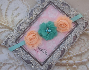 Ballet Bun Wrap - Dance - Mini Shabby and Chiffon Flowers on Grosgrain Ribbon for All Ages by Lil Miss Sweet Pea