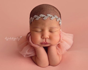 Silver rhinestone leaf headband, photoshoot, bebe, baby bling, bandeau bebe, bride hair, Lil Miss Sweet Pea