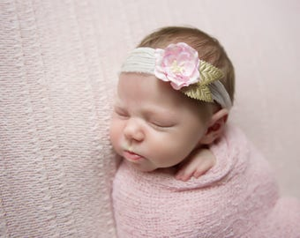 Pastel Pink Knit Swaddle Wrap AND/OR Crinkled Silk Organic Flower Tieback for girls, newborns, baby, bebe fotografia, Lil Miss Sweet Pea