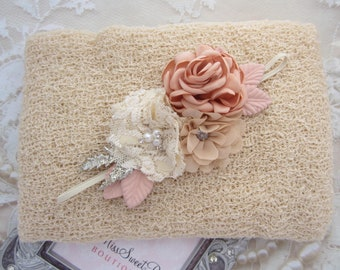 Tan Newborn Baby Knit Swaddle Wrap AND/OR Couture Flower Headband, newborn photos, bebe bandeau, Lil Miss Sweet Pea